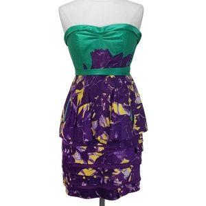 BCBG Maxazria strapless green purple dress
